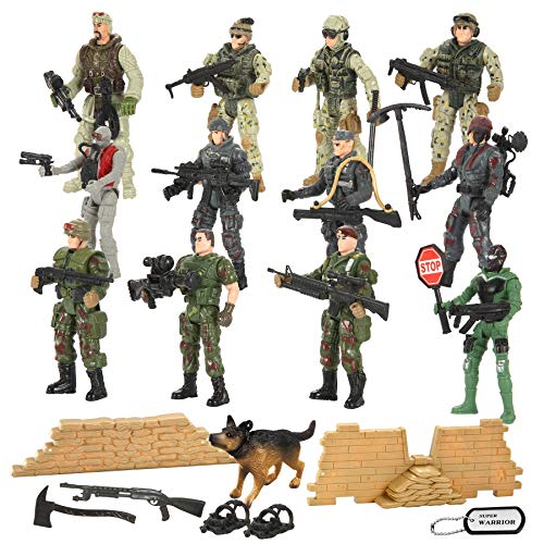 JOYIN 16 PCs Military Toy Soldiers Playset Army Men Figures with 12 Realistic Army Ranger Action Figures and Weapon Gear Accessories Military Combat Toys