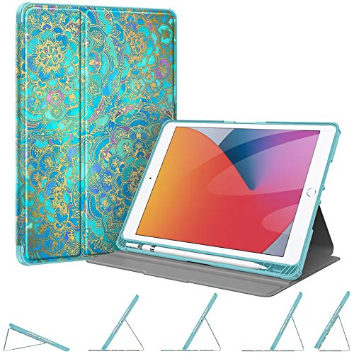 Fintie Case with Pencil Holder for New iPad 8th Gen (2020) / 7th Generation (2019) 10.2 Inch - [Corner Protection] Multi-Angle Viewing Rugged Soft TPU Back Cover, Auto Sleep/Wake, Shades of Blue