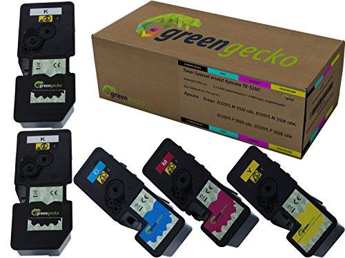 5 Toner ersetzen Kyocera TK-5240 Druckerpatrone I Für Kyocera ECOSYS M 5526 CDN, M 5526 cdw, P 5026 CDN, P 5026 cdw I Druckerpatronen Schwarz(2), Cyan, Magenta, Gelb 5 Stück