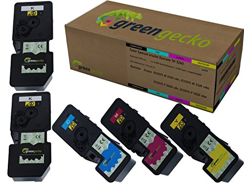 Kyocera TK-5240 - Juego de 5 cartuchos de tinta para Kyocera ECOSYS M 5526 CDN, M 5526 cdw, P 5026 CDN, P 5026 cdw I (2), cian, magenta y amarillo