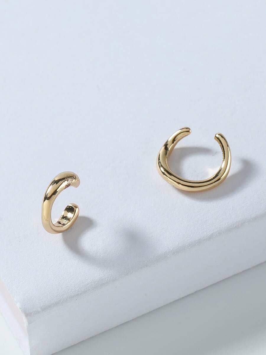 frenma Hoop Earrings 2pcs Simple Ear Cuff (Color : Gold)