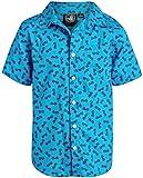 Body Glove Boys Short Sleeve Button Down Summer Beach Shirt, Teal Sunglasses, Size Medium'