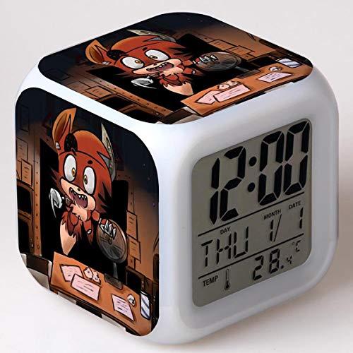 JCYY Niños Cabecera Dibujos Animados Despierta Despertador LED 7 Colores USB Digital Relojes Niños Habitación Inalámbrico Dormitar Reloj Cumpleaños Regalo por Muchachas Niños Adolescentes,7