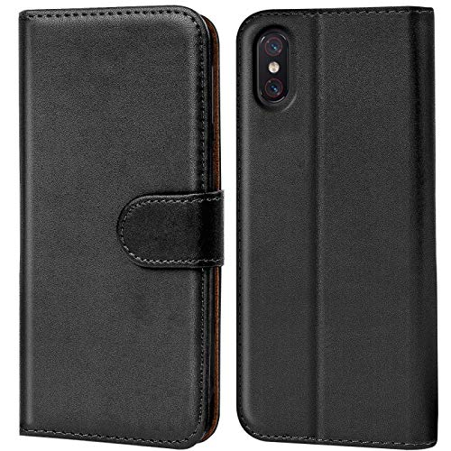 Verco Funda para Xiaomi Mi 8 Pro, Telefono Movil Case Compatible con Xiaomi Mi 8 Pro Libro Protectora Carcasa, Negro