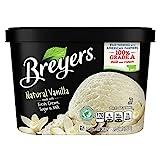 Breyers Classics Ice Cream for a Delicious Frozen Treat Natural Vanilla Made with 100 percent Grade A Milk and Cream, Sustainably-Farmed Vanilla 48 oz