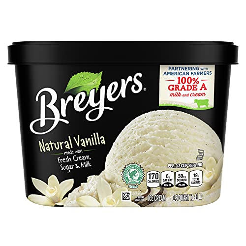Breyers Original Ice Cream for a Delicious Dessert Natural Vanilla Made with 100% Grade A Milk & Cream, Sustainably-Farmed Vanilla 48 oz
