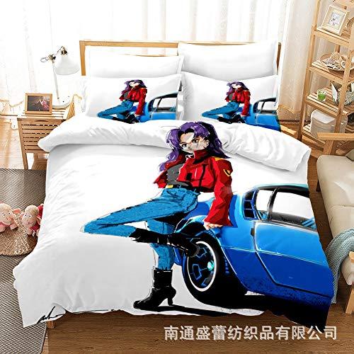 EVA: Katsuragi Misato 3D Juegos de impresión del hogar Ropa de cama, conjuntos de Easy Clean microfibra de poliéster funda nórdica con cremallera, for la sala de 3 piezas 1 cubierta del edredón de Ota