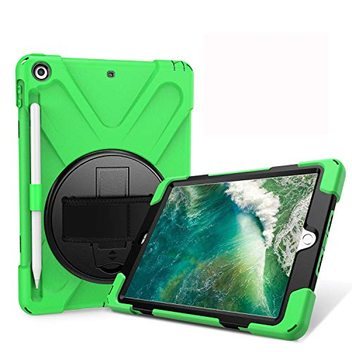 JZ 360 Degrees Kickstand Case Cover Compatible with New iPad 9.7 inch (2017/2018) Stand Case with Wrist Strap,Shoulder Strap and Pencil Holder - Green