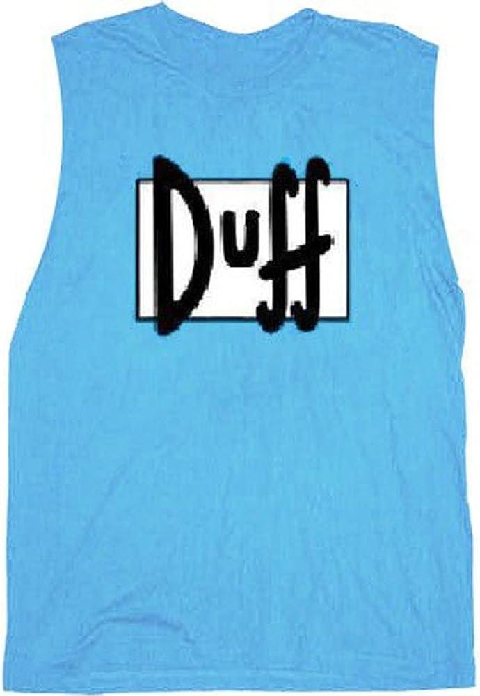 Simpsons Duff Beer Light Blue Sleeveless Adult T-Shirt Tee