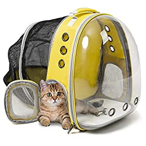 ZolooPet Expandable Cat Backpack Carrier, Dual Expandable Pet Carrier for Cats and Dogs, Up to 15 Lbs,Easter Gift,Space Capsule Transparent Clear Bubble Pet Carrying Hiking Traveling Backpack