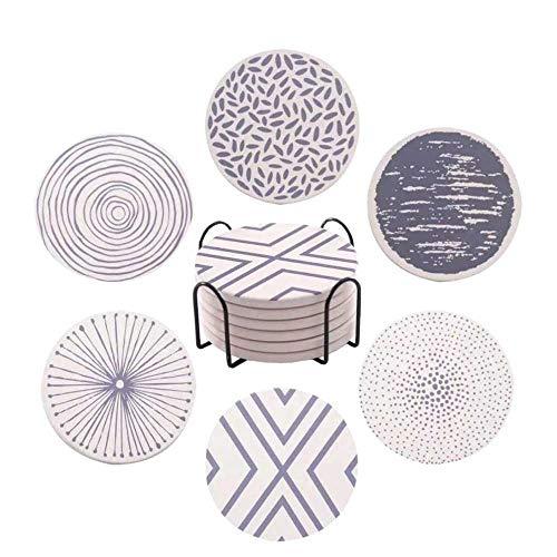 King Style geométrico posavasos de cerámica, diseño para bebidas, juego de 6 posavasos absorbentes con base de corcho, incluye 1 soporte de metal, regalo de moda para amigos y familia (geométrico)