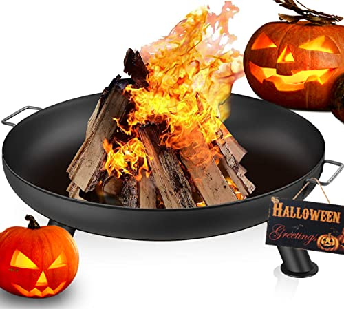 Amagabeli Extra Large Fire Pit 70cm Inch Large Capacity Portable Outdoor Heavy Duty Iron Fire Bowl for Patio Camping BBQ Brazier for Garden Heater Charcoal Wood Burner Round Log Burning Bowl