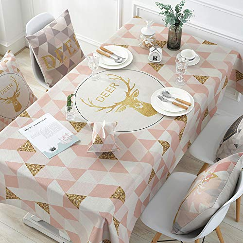 YCZZ Table cloth, Nordic triangle deer pattern table cloth, household round table rectangular coffee table TV cabinet table cloth table cloth 140 * 220cm Pink Golden Triangle Deer tablecloth