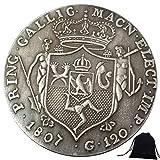 DDTing 1807 Monedas históricas de Italia talladas a mano - Monedas de Italia - Moneda antigua conmemorativa sin circular + bolsa KaiKBax - Es hecho a mano moneda goodService