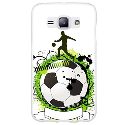 OOH!COLOR 025627_sfo006 Voetbal met patroon zachte siliconen TPU bumperhoes voor Samsung Galaxy J1 transparant