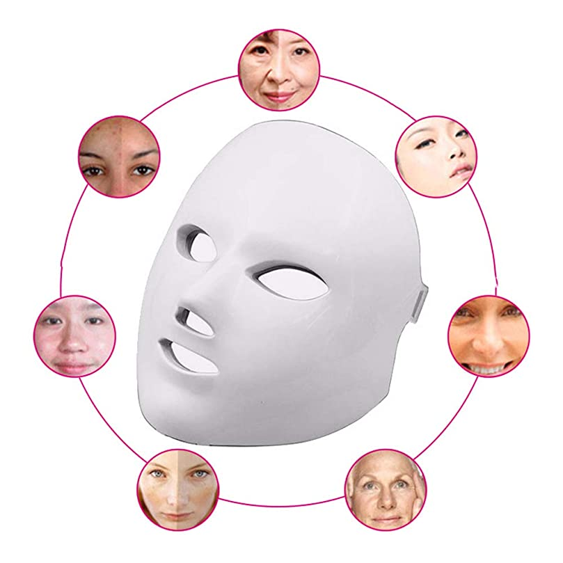 クロス別れる注釈赤色光光子治療機7色ledマスク再生PDT抗にきびしわ顔の美しさマッサージツール,White