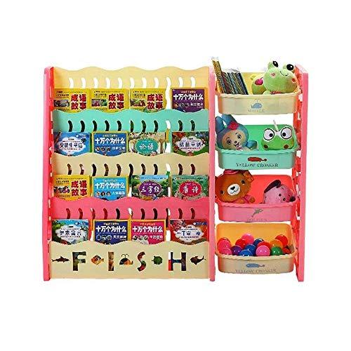 Librero de niños 1-5 años niños Librero pequeño bajo aprendizaje estantería de 4 niveles con el juguete de almacenamiento Librerías juguete Organizador (Color: Multi-color, tamaño: 104x82x30cm) yqaae