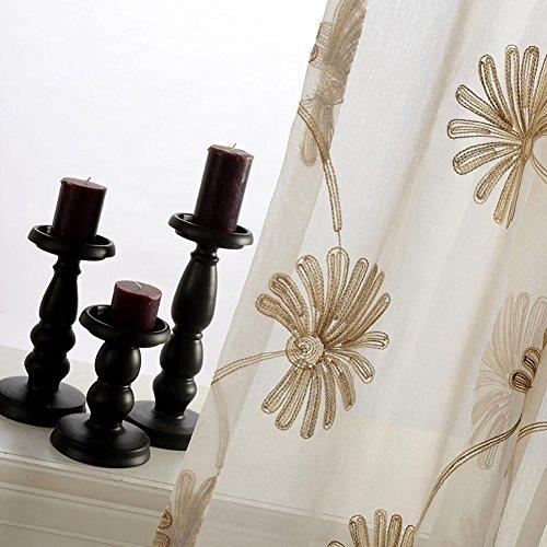 Rideaux et drapés transparents en fil blanc avec fleurs brodées pour fenêtres, produit fini avec œillets pour le salon, blanc, 1 pièce (150 x 270 cm)