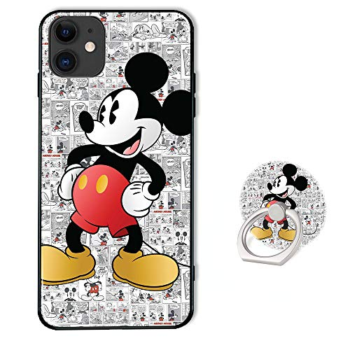 Disney Phone Case for iPhone 11 with Ring Holder Kickstand,Soft TPU Rubber Silicone Protective Cover for iPhone 11 (6.1 inch) - Mickey Mouse Pattern
