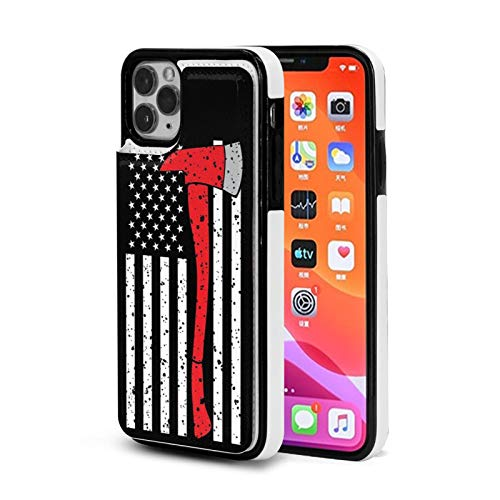 Red Line Firefighter Axe iPhone 11 /Pro/Max Wallet Case with Card Holder,PU Leather Kickstand Card Slots Case,Double Magnetic Clasp and Durable Shockproof Cover