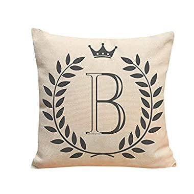Sikye Letters Pattern Flax Pillow Case Sofa Home Decor Cushion Cover Throw Pillow Case 18  x 18  (B)