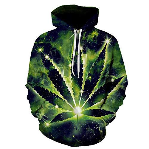 unisex 3D Sudadera con capucha,Pullover unisex Estampado en 3D Hojas de color verde humo Sudadera con capucha Sudadera Pareja Novedad Prendas exteriores Chándales Hip Hop Cool Streetwear con bol