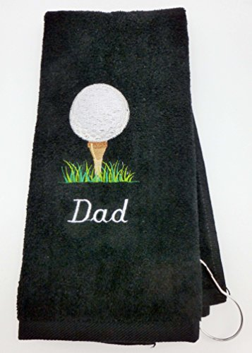 Mana Trading Custom Personalized Golf Towel Golf Ball ON TEE (Black)