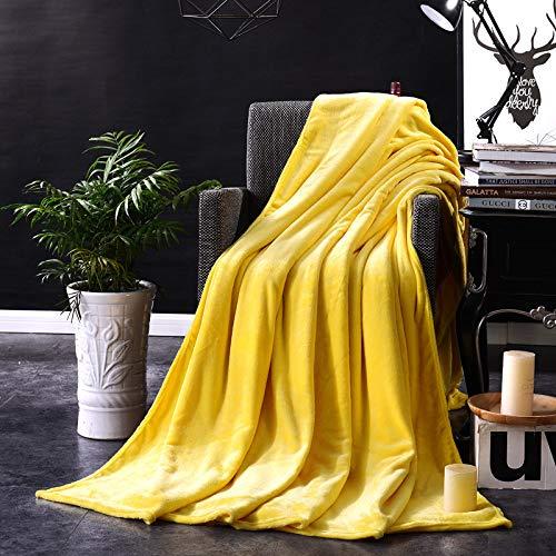 BNSFT deken, koraal fleece stof gele deken soft draagbaar comfortabel na flanel sofa/bed/reizen patchwork solide sprei 180 x 200 cm