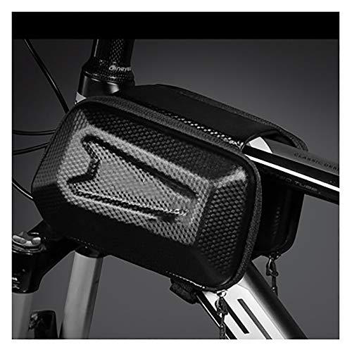 LJWLZFVT Bike Frame Bag Waterproof Bike Phone Bag Large Capacity Handlebar Bag Bike Accessories with Touch Screen with Sun Visor and Rain Cover Bicycle frame bag E6 black commuter 21x14x13cm