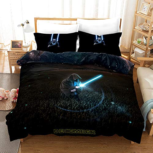 Duvet Cover King Size 240 x 220 cm Microfiber Bedding set with 2 Pillowcases 50 x 75 cm Star Wars Hypoallergenic Ultra Soft Quilt Cover Set with Zipper Seal