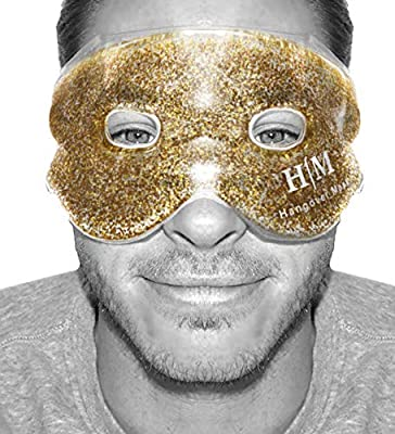 LIMITED EDITION - Gel Mask, Hangover Mask Hot or Cold Premium Reusable Gel Mask, Helps to Sooth Puffy Faces, Tired Eyes, Dark Circles, Headaches and Hangovers (Gold)