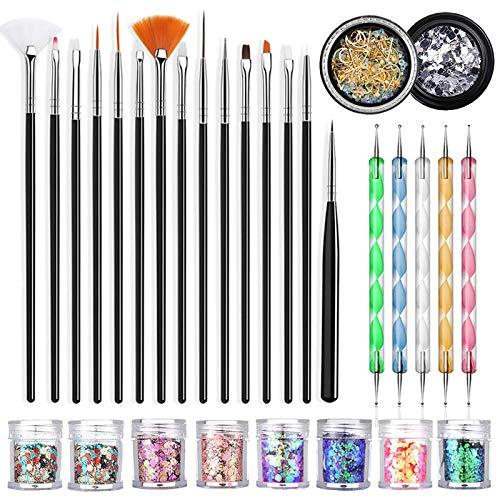YuuHeeER 15 pinceles para uñas de diseñador de moda para arte con lentejuelas, color plateado