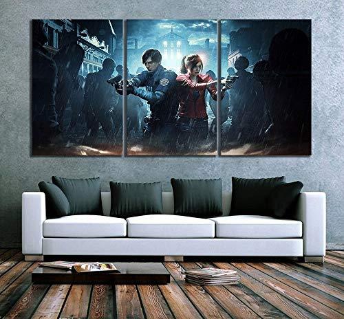 ksjdjok Überleben Spiel Resident Evil 2 Zombies Videospiel Poster Leinwand Malerei Für Wohnkultur HD Wandbilder 40X60 cm 3 Stücke