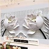 Anasc Benutzerdefinierte Tapete Wandbild, 3D Stereo Lotus Blumen Wandbild, Tapete Für Wohnzimmer, Hauptdekoration Wandtuch-260(W) x 175(H) cm