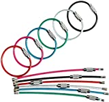 bayite Key Rings Stainless Steel Wire Keychains Cable Heavy Duty Luggage Tags Loops Tag Keepers 2mm Twist Barrel Pack of 12 (Cable length: 4 inches)