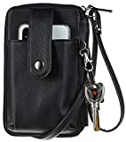 Sodsay Leather RFID Womens Crossbody Cell Phone Purse Credit Card Holder Wallet (CH Black)