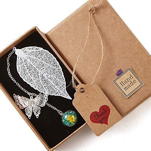 YHH Marcadores de Libro de Hoja de Metal, Marcapáginas Bonitos con Mariposa 3D y Colgante de Perlas de Vidrio y Flor Eterna, Regalo Aniversario Mujer Pareja, Hoja Plata Colgante Turquesa