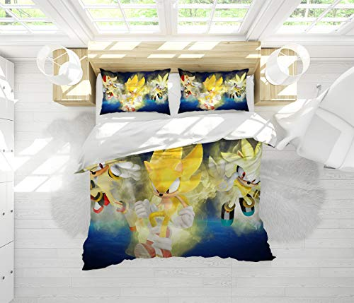 Bedding Set 3 Piece Set Sonic Force Printing Bedding Set Full All Season Quilt Set Comforter Cover with and 2 Pillow Shams for Any Bed Room Or Guest Room, Quenn (90x90 inches)