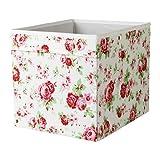 DRÖNA Aufbewahrungsbox mit Blumenmuster, Größe 33 x 38 x 33 cm, ideal für alles von Zeitschriften bis zu Kleidung