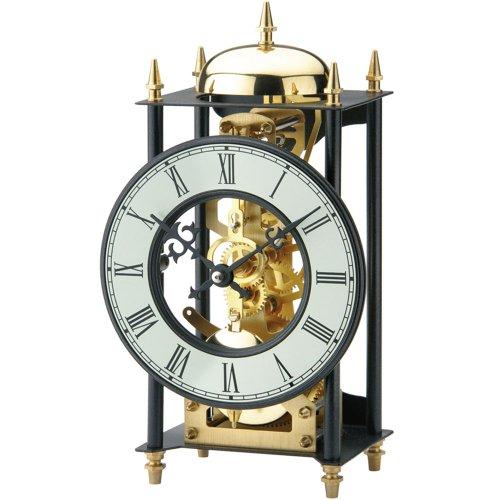 AMS Tischuhr Metall schwarz golden mechanisch mit Schlagwerk Vintage antik