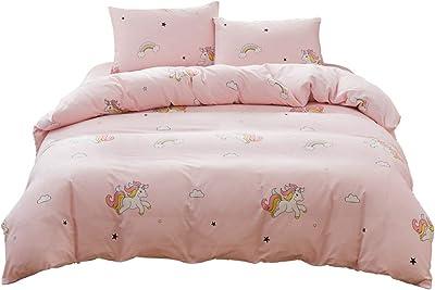 Hanacat 布団カバー 綿100% シングル 3点セット 掛け布団カバー ボックスシーツ 枕バー ユニコーン柄 ピンク
