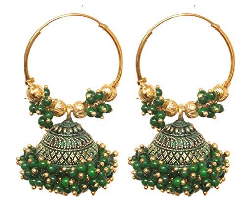 Pahal - Pendientes de aro de oro Jhumka étnico Bollywood con perlas verdes del sur de la India grandes