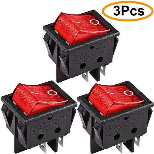 Clyxgs DPST 4 Pins 2 Position Ein/Aus Rote LED-Licht Beleuchtet Boot Wippschalter rot AC16A / 125 V 16A / 250 V 3 Stücke