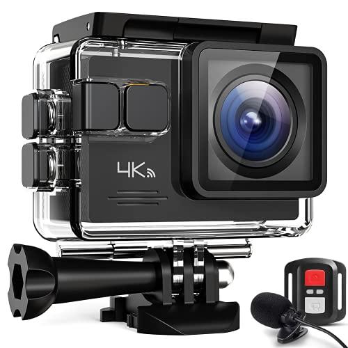 Cámara de acción 4 K Wi-Fi con micrófono externo ajustable Nueva estabilización EIS Videocámara Time Lapse Slow Motion impermeable 40 m bajo el agua UHD 4K Cámara, batería 2 x 1050 mAh