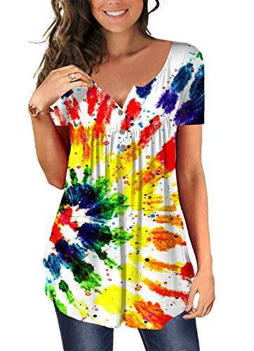 Cyiozlir Bluse Damen Sommer T Shirt Tunika Bunt Drucken Kurzarm V Ausschnitt Knopfleiste Lose Casual Tops Oberteil (01Bunt, XX-Large)