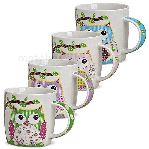 matches21 Tassen Becher Kaffeetassen Kaffeebecher bunte Eulen Motive 4-tlg. Set blau rosa lila grün Porzellan 9 cm / 300 ml