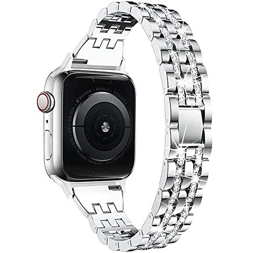 AISPORTS Compatible con Apple Watch Correa de 40 mm y 38 mm para mujeres, delgada, con diamantes de cristal, hebilla de metal, correa de repuesto para Apple Watch SE/iWatch Series 6/5/4/3/2/1