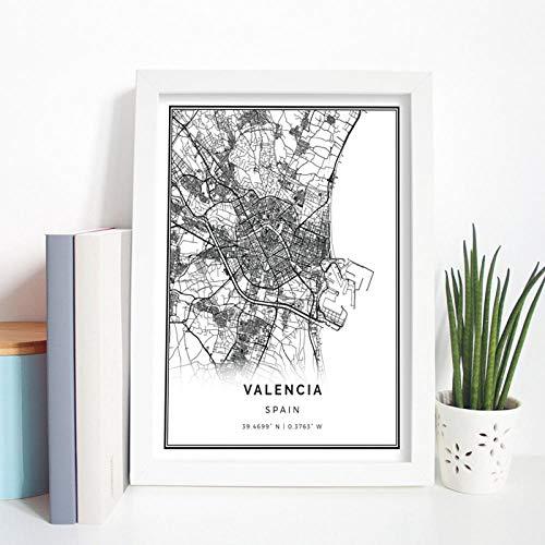 Terilizi Valencia Map, wandkunst, wandkunst, spin, Gift City Street Travel Map Art Painting Nordic Modern Picture Home wanddecoratie, 30 x 40 cm, zonder lijst