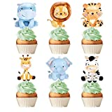 Baby Safari Jungle Animals Cupcake Toppers Forest Theme Birthday Party Supplies For Kids and Adults Party Decorations Set of 24