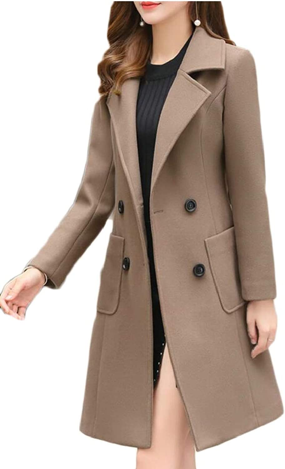 Desolateness Women's Classic Double Breasted Laple Long Wool Trench Coat Overcoats